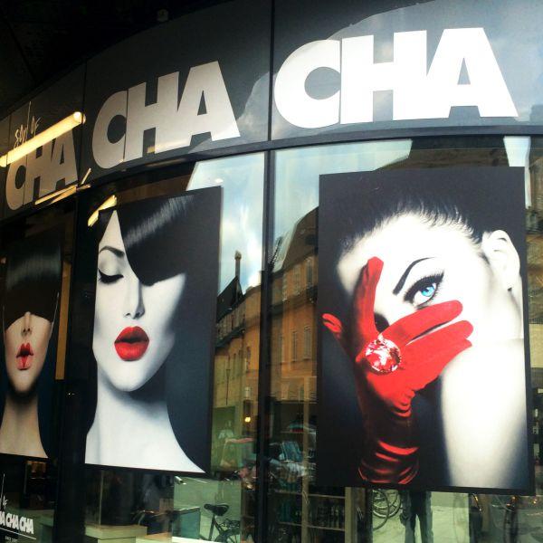 Print på ruder hos Cha Cha Cha