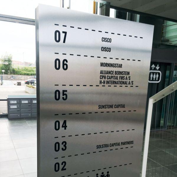 Skiltestander på fod hos Lautrupsgade 7 Kontorhotel